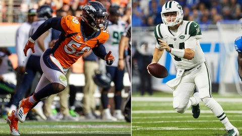 <p>               FILE - At left, in a Sept. 9, 2018, file photo, Denver Broncos linebacker Von Miller plays against the Seattle Seahawks during the second half of an NFL football game, in Denver. At right, in a Sept. 10, 2018, file photo, New York Jets quarterback Sam Darnold (14) scrambles against the Detroit Lions during an NFL football game at Ford Field in Detroit. Von Miller saw something special in Sam Darnold even before the NFL draft. The Broncos star linebacker says he would have picked him with the No. 1 overall pick. Miller will be doing his best to help make life miserable for the New York Jets rookie quarterback when the teams meet Sunday at MetLife Stadium. (AP Photo/File)             </p>