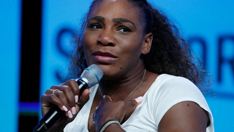 "<p>               FILE - In this Sept. 14, 2018, file photo, tennis star Serena Williams speaks in Las Vegas. Serena Williams goes topless and sings ""I Touch Myself"" in a video to promote breast cancer awareness month. With her hands covering her breasts, Williams writes in the Instagram post that the video took her out of her ""comfort zone."" But she said she wanted to do it because early detection saves so many lives. (AP Photo/John Locher, File)             </p>"