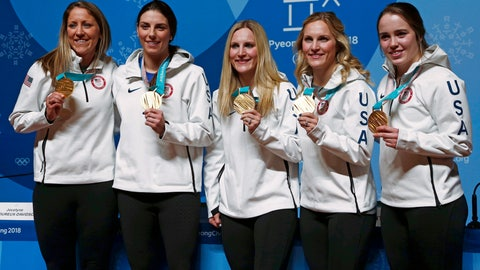 <p>               FILE - In this Feb. 23, 2018, file photo, United States' Meghan Duggan, from left, Hilary Knight, Monique Lamoureux-Morando, Jocelyne Lamoureux-Davidson and Maddie Rooney pose with their gold medals in women's hockey at a news conference at the 2018 Winter Olympics in Pyeongchang, South Korea. Everything about 2018 is going almost exactly to plan for Monique Lamoureux-Morando and Jocelyne Lamoureux-Davidson. The twin sisters scratched off the first item on their to-do list by helping the United States end a 20-year gold medal drought at the Olympics. Lamoureux-Morando and her husband, Anthony, are expecting a boy in mid-December. Jocelyne and her husband, Brent, are due seven weeks later. (AP Photo/Peter Morgan, File)             </p>