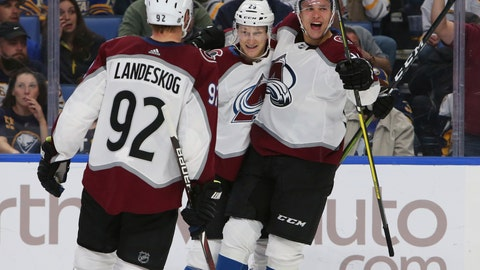 <p>               Colorado Avalanche forward Nathan MacKinnon (29) celebrates his goal with teammates Gabriel Landeskog (92) and Vladislav Kamenev (91) during the second period of an NHL hockey game against the Buffalo Sabres, Thursday, Oct. 11, 2018, in Buffalo, N.Y. (AP Photo/Jeffrey T. Barnes)             </p>