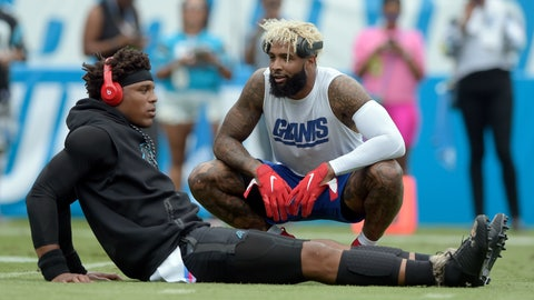 <p>               New York Giants' Odell Beckham, right, talks with Carolina Panthers' Cam Newton, left, before an NFL football game in Charlotte, N.C., Sunday, Oct. 7, 2018. (AP Photo/Mike McCarn)             </p>