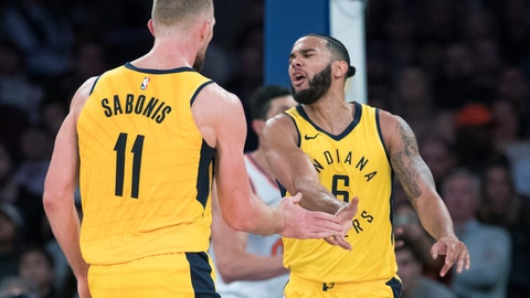 <p>               Indiana Pacers forward Domantas Sabonis (11) and guard Cory Joseph (6) celebrate during the second half of an NBA basketball game against the New York Knicks, Wednesday, Oct. 31, 2018, at Madison Square Garden in New York. The Pacers won 107-101. (AP Photo/Mary Altaffer)             </p>