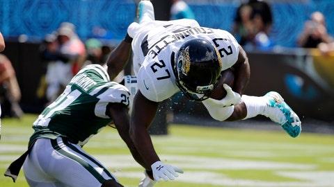 <p>               New York Jets cornerback Morris Claiborne, left, upends Jacksonville Jaguars running back Leonard Fournette (27) during the first half of an NFL football game, Sunday, Sept. 30, 2018, in Jacksonville, Fla. (AP Photo/Stephen B. Morton)             </p>