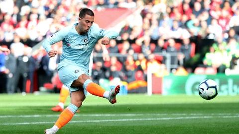 <p>               Chelsea's Eden Hazard scores against Southampton during the English Premier League soccer match at St Mary's Stadium, Southampton, England, Sunday Oct. 7, 2018. (Andrew Matthews/PA via AP)             </p>