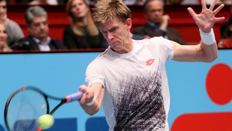 <p>               Kevin Anderson of South Africa returns returns the ball to Japan's Kei Nishikori a during their final match at the Erste Bank Open tennis tournament in Vienna, Austria, Sunday, Oct. 28, 2018. (AP Photo/Ronald Zak)             </p>