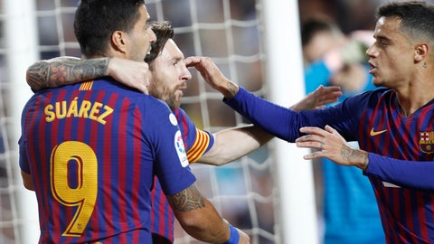 <p>               Barcelona forward Lionel Messi, center, celebrates after scoring against Valencia during the Spanish La Liga soccer match between Valencia and Barcelona, at the Mestalla stadium in Valencia, Spain, Sunday, Oct. 7, 2018. (AP Photo/Alberto Saiz)             </p>