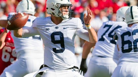 <p>               Penn State quarterback Trace McSorley (9) draws back to pass out of the backfield during the first half of an NCAA college football game against Indiana Saturday, Oct. 20, 2018, in Bloomington, Ind. (AP Photo/Doug McSchooler)             </p>