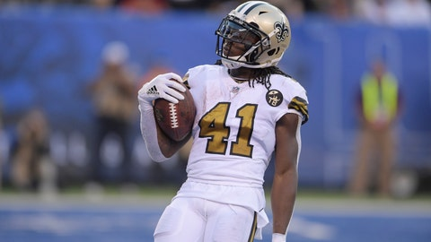 """<p>               In this Sept. 30, 2018 photo New Orleans Saints' Alvin Kamara reacts after scoring a touchdown during the second half of an NFL football game against the New York Giants in East Rutherford, N.J. No team has done more to limit Kamara's influence on a game this season than New Orleans itself. That was by design, and Kamara says he's OK with it if an increasingly dynamic offense helps the Saints keep winning. """"I'm not worried about touches, whether it's a lot or a little,"""" Kamara said after practice Wednesday, Oct. 17, 2018. """"Just take advantage of the plays that come."""" (AP Photo/Bill Kostroun)             </p>"""