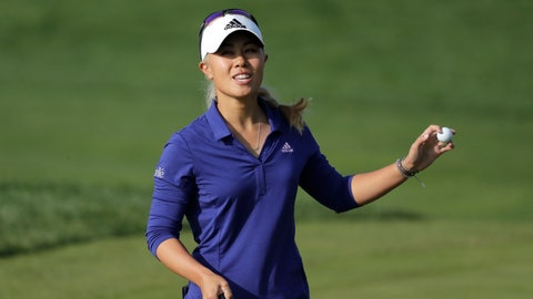 <p>               Danielle Kang of the United States reacts on the 18th hole after finishing the third round of the LPGA KEB Hana Bank Championship at Sky72 Golf Club in Incheon, South Korea, Saturday, Oct. 13, 2018. (AP Photo/Lee Jin-man)             </p>