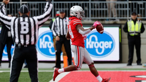 <p>               Ohio State receiver K.J. Hill scores a touchdown against Minnesota during the first half of an NCAA college football game Saturday, Oct. 13, 2018, in Columbus, Ohio. (AP Photo/Jay LaPrete)             </p>