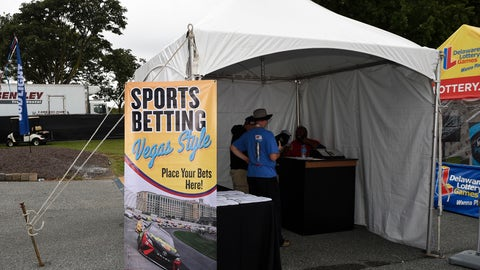 <p>               A tent kiosk for legalized sports betting is seen at the Dover International Speedway, Saturday, Oct. 6, 2018, in Dover, Del. (AP Photo/Nick Wass)             </p>