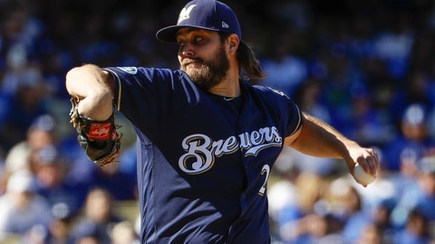 <p>               Milwaukee Brewers starting pitcher Wade Miley throws during the first inning of Game 5 of the National League Championship Series baseball game against the Los Angeles Dodgers Wednesday, Oct. 17, 2018, in Los Angeles. (AP Photo/Matt Slocum)             </p>