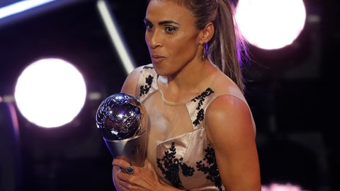 <p>               Brazil's Marta receives the Best FIFA Women's player award during the ceremony of the Best FIFA Football Awards in the Royal Festival Hall in London, Britain, Monday, Sept. 24, 2018. (AP Photo/Frank Augstein)             </p>