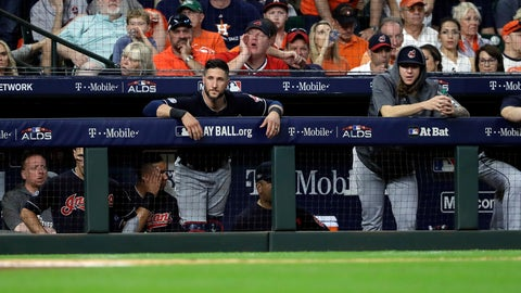 <p>               Cleveland Indians players stand in the dugout as they fall to the Houston Astros in Game 2 of a baseball American League Division Series, Saturday, Oct. 6, 2018, in Houston. (AP Photo/David J. Phillip)             </p>