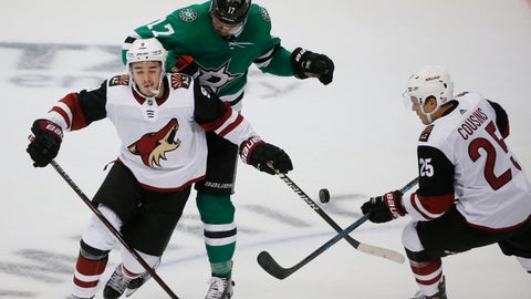 <p>               Dallas Stars center Devin Shore (17) defends against Arizona Coyotes center Clayton Keller (9) and center Derek Stepan (21) during the third period of an NHL hockey game in Dallas, Thursday, Oct. 4, 2018. The Stars defeated the Coyotes 3-0. (AP Photo/Michael Ainsworth)             </p>