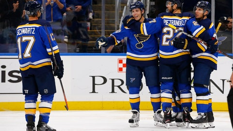 <p>               St. Louis Blues' David Perron (57) is congratulated by Jaden Schwartz (17), Alex Pietrangelo (27), and Alexander Steen (20) after scoring a goal during the second period of an NHL hockey game against the Calgary Flames on Thursday, Oct. 11, 2018, in St. Louis. (AP Photo/Billy Hurst)             </p>
