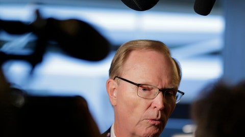 <p>               New York Giants owner John Mara speaks to reporters during the NFL football fall meetings in New York, Tuesday, Oct. 16, 2018. (AP Photo/Seth Wenig)             </p>