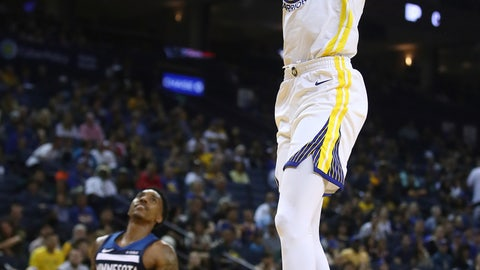 <p>               Golden State Warriors' Kevin Durant, right, scores against the Minnesota Timberwolves in the second half of an NBA preseason basketball game Saturday, Sept. 29, 2018, in Oakland, Calif. (AP Photo/Ben Margot)             </p>