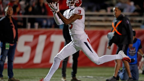 <p>               Fresno State wide receiver KeeSean Johnson (3) pulls in a touchdown catch during the first half of an NCAA college football game against New Mexico in Albuquerque, N.M., Saturday, Oct. 20, 2018. (AP Photo/Andres Leighton)             </p>