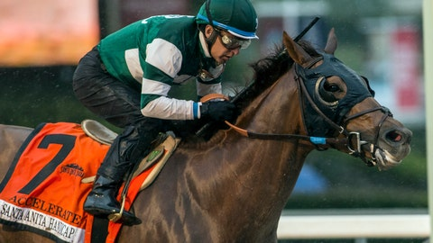 <p>               FILE - In this March 10, 2018, file photo, provided by Benoit Photo, Accelerate, with Victor Espinoza aboard, wins the Santa Anita Handicap horse race at Santa Anita Park in Arcadia, Calif. Accelerate leads the 14-horse field for the Breeders' Cup Classic, which will offer the 5-year-old a rematch against West Coast in a marquee race that's missing unbeaten Triple Crown winner Justify (Benoit Photo via AP, File)             </p>
