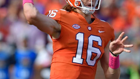 <p>               Clemson quarterback Trevor Lawrence throws a pass during the first half of an NCAA college football game against North Carolina State, Saturday, Oct. 20, 2018, in Clemson, S.C. (AP Photo/Richard Shiro)             </p>
