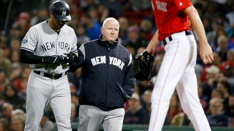 <p>               New York Yankees' Aaron Hicks, left, is helped off he field after getting hurt during the fourth inning of Game 1 of the baseball team's American League Division Series against the Boston Red Sox on Friday, Oct. 5, 2018, in Boston. (AP Photo/Elise Amendola)             </p>
