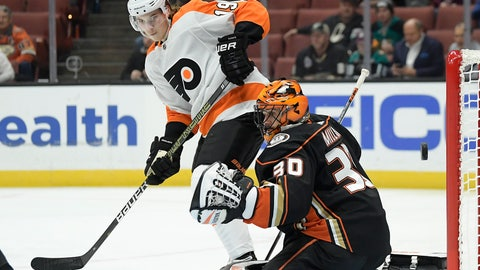<p>               Anaheim Ducks goaltender Ryan Miller, right, is scored on by Philadelphia Flyers center Sean Couturier as center Nolan Patrick watches during the first period of an NHL hockey game Tuesday, Oct. 30, 2018, in Anaheim, Calif. (AP Photo/Mark J. Terrill)             </p>