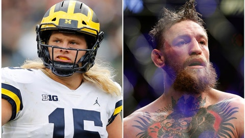<p>               FILE - In this combination of 2018 file photos Michigan defensive lineman Chase Winovich, left, reacts after a play during the first half of an NCAA college football game against Michigan State , on Oct. 20, 2018, in East Lansing, Mich., and at right, Conor McGregor reacts after losing to Khabib Nurmagomedov in a lightweight title mixed martial arts bout at UFC 229 in Las Vegas, on Oct. 6, 2018. Winovich chose to stay in college to chase championships and improve his standing for the NFL draft. No. 5 Michigan has a path to a Big Ten title and the defensive end appears to be improving his stock for the pros. Winovich is also having a lot of fun along the way and is trying to live life like UFC star  McGregor, who he calls a big brother.  (AP Photo/Files)             </p>