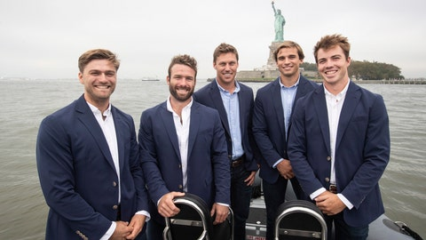 <p>               In this photo provided by SailGP, from left, Hans Henken, Dan Morris, Rome Kirby, Mac Agnese, Riley Gibbs of the new United States team in the SailGP league pose at a launch event in front of the Statue of Liberty in New York Wednesday, Oct. 10, 2018. Former America's Cup champion Rome Kirby has been named skipper and helmsman of the United States' team in the new SailGP league. Kirby was introduced with the rest of the American crew Wednesday in New York. SailGP was founded by American software billionaire Larry Ellison and New Zealander Russell Coutts, a five-time America's Cup winner. SailGP will be contested in supercharged, 50-foot catamarans. (Matt Knighton/SailGP via AP)             </p>