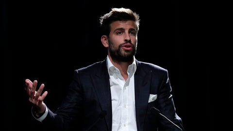 <p>               FC Barcelona soccer player and founder of investment group Kosmos, Gerard Pique delivers his speech during the presentation of the city of Madrid as hosts of the new Davis Cup for the next two years in Madrid, Spain, Wednesday, Oct. 17, 2018. (AP Photo/Manu Fernandez)             </p>