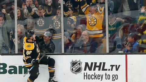 <p>               Boston Bruins right wing David Pastrnak (88) reacts after scoring during the first period of an NHL hockey game against the Detroit Red Wings, Saturday, Oct. 13, 2018, in Boston. (AP Photo/Mary Schwalm)             </p>