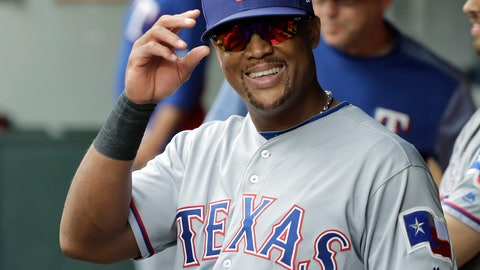 <p>               Texas Rangers' Adrian Beltre smiles in the dugout during the fifth inning of a baseball game against the Seattle Mariners after he was replaced by Jurickson Profar at third base, Sunday, Sept. 30, 2018, in Seattle. (AP Photo/Ted S. Warren)             </p>