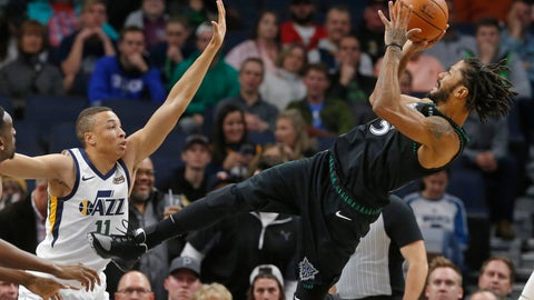 <p>               Minnesota Timberwolves' Derrick Rose, right, takes a fall-back shot as Utah Jazz's Dante Exum defends sueinf the first half of an NBA basketball game Wednesday, Oct. 31, 2018, in Minneapolis. (AP Photo/Jim Mone)             </p>