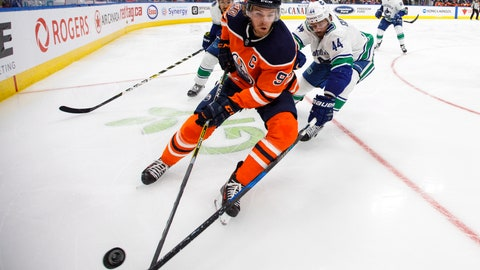 <p>               FILE - In this Tuesday, Sept. 25, 2018, file photo, Vancouver Canucks' Erik Gudbranson (44) chases Edmonton Oilers' Connor McDavid (97) during the second period of an NHL hockey preseason game in Edmonton, Alberta. The sight of McDavid blowing past defenders is an almost every-game occurrence for the Edmonton Oilers captain whose speed is the envy of the NHL. McDavid's crossover moves that propelled him a league-high 108 points came from years of cruising around on rollerblades. (Jason Franson/The Canadian Press via AP, File)             </p>