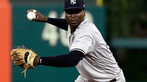 <p>               FILE - In this June 26, 2018, file photo, New York Yankees shortstop Didi Gregorius prepares to throw to first after fielding a ball during a baseball game against the Philadelphia Phillies in Philadelphia. The Yankees say star shortstop will need Tommy John surgery on his right elbow after injuring himself during the AL Division Series, the team announced Friday, Oct. 12, 2018.  (AP Photo/Matt Slocum, File)             </p>