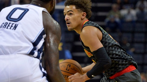 <p>               FILE - In this Friday, Oct. 5, 2018, file photo, Atlanta Hawks guard Trae Young, right, controls the ball against Memphis Grizzlies forward JaMychal Green (0) in the first half of an NBA preseason basketball game in Memphis, Tenn. The Hawks have begun a major rebuilding job. They have no star player, their point guard is a 20-year-old rookie, and their roster depth is suspect. (AP Photo/Brandon Dill, File)             </p>