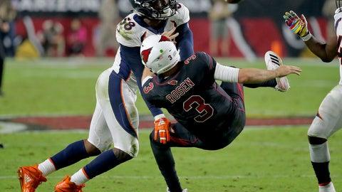 <p>               Denver Broncos linebacker Von Miller (58) hits Arizona Cardinals quarterback Josh Rosen (3) as he throws during the second half of an NFL football game, Thursday, Oct. 18, 2018, in Glendale, Ariz. (AP Photo/Rick Scuteri)             </p>
