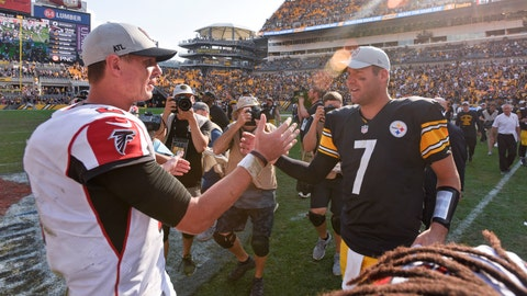 <p>               Pittsburgh Steelers quarterback Ben Roethlisberger (7) greets Atlanta Falcons quarterback Matt Ryan (2) after an NFL football game, Sunday, Oct. 7, 2018, in Pittsburgh. (AP Photo/Don Wright)             </p>