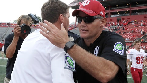 <p>               Rutgers head coach Chris Ash, left, shakes hands with Indiana head coach Tom Allen after an NCAA college football game, Saturday, Sept. 29, 2018, in Piscataway, N.J. Indiana won 24-17. (AP Photo/Julio Cortez)             </p>