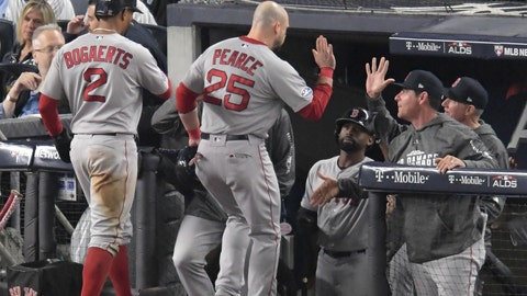 <p>               Boston Red Sox's Xander Bogaerts (2) and Steve Pearce (25) are congratulated by teammates and coaches after scoring against the New York Yankees during the fourth inning of Game 3 of baseball's American League Division Series, Monday, Oct. 8, 2018, in New York. (AP Photo/Bill Kostroun)             </p>
