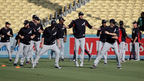 <p>               Members of the Atlanta Braves warm up before Game 2 of the baseball team's National League Division Series against the Los Angeles Dodgers on Friday, Oct. 5, 2018, in Los Angeles. (AP Photo/Jae C. Hong)             </p>