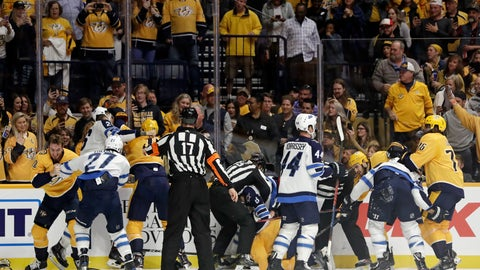 <p>               Several fights go on at once during the second period of an NHL hockey game between the Nashville Predators and the Winnipeg Jets on Thursday, Oct. 11, 2018, in Nashville, Tenn. (AP Photo/Mark Humphrey)             </p>