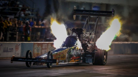 <p>               In this photo provided by the NHRA, Clay Millican drives in Top Fuel qualifying Friday, Oct. 5, 2018, at the AAA Texas NHRA FallNationals drag races at Texas Motorplex in Ennis, Texas. (Randy Anderson/NHRA via AP)             </p>