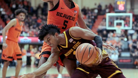 <p>               FILE - In this Feb. 24, 2018, file photo, Arizona State's Remy Martin, front, works the ball against Oregon State's Ethan Thompson (5) during an NCAA college basketball game in Corvallis, Ore. Arizona State begins their season against Cal State Fullerton on Nov. 6. (AP Photo/Timothy J. Gonzalez, File)             </p>