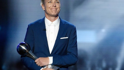 <p>               FILE - In this July 13, 2016, file photo, former U.S. soccer player Abby Wambach accepts an icon award at the ESPY Awards at the Microsoft Theater in Los Angeles. Wambach is joining COPA90, a multi-platform media company headquartered in London, in advance of women's World Cup soccer tournament in France this summer. The content is featured on Facebook, Twitter, YouTube and other social media platforms. (Photo by Chris Pizzello/Invision/AP, File)             </p>