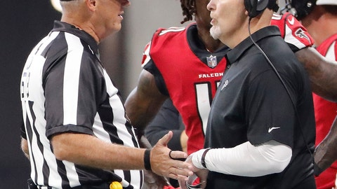 <p>               Atlanta Falcons head coach Dan Quinn speaks with an official during the second half of an NFL football game against the New Orleans Saints, Sunday, Sept. 23, 2018, in Atlanta. (AP Photo/David Goldman)             </p>