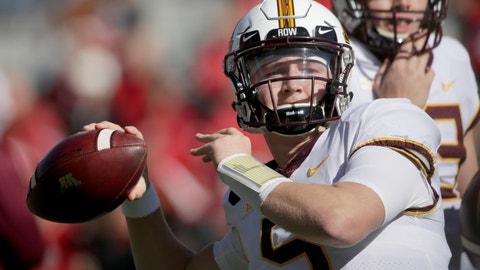 <p>               Minnesota quarterback Zack Annexstad (5) warms up before an NCAA college football game against Nebraska in Lincoln, Neb., Saturday, Oct. 20, 2018. (AP Photo/Nati Harnik)             </p>