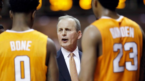 <p>               FILE - In this Jan. 9, 2018, file photo, Tennessee coach Rick Barnes talks with Jordan Bone (0) and Jordan Bowden (23) during a timeout in the second half of an NCAA college basketball game against Vanderbilt in Nashville, Tenn. Barnes says Vols won't get complacent as they return the nucleus of the team that won a share of SEC regular-season title last year.  (AP Photo/Mark Humphrey, File)             </p>