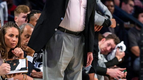 <p>               San Antonio Spurs coach Gregg Popovich stands on the sideline during the first half of a preseason NBA basketball game against the Atlanta Hawks in Atlanta, Wednesday, Oct. 10, 2018. (AP Photo/Danny Karnik)             </p>