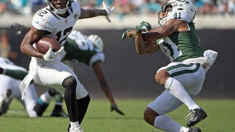 <p>               Jacksonville Jaguars wide receiver Dede Westbrook (12) slips past New York Jets defensive back Buster Skrine (41) during the second half of an NFL football game, Sunday, Sept. 30, 2018, in Jacksonville, Fla. (AP Photo/Phelan M. Ebenhack)             </p>